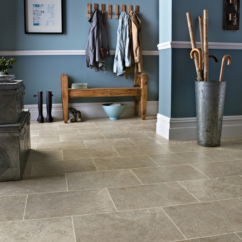 LVT Flooring Stone Effect | Brown Stone Effect Hall Floor | Flooring Shop Urmston